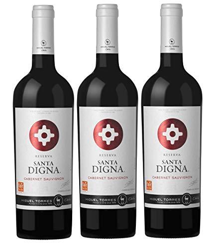 Santa Digna Cabernet Sauvignon, Vino Tinto - 3 botellas de 75 cl, Total: 2250 ml