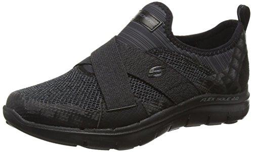 Skechers Flex Appeal 2.0-New Image, Zapatillas Mujer, Negro (BBK Black Mesh/Hot Melt/Trim), 35 EU