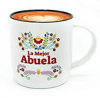 Triple Gifffted La Mejor Abuela Coffee Mug in Spanish Latino Best Grandma in The World Gifts Regalo Dia Del Madre Birthday and Christmas Taza Abuelos 13 Oz