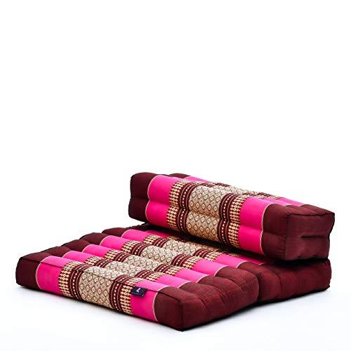 Leewadee Cuscino da Meditazione: Seduta Pieghevole per Yoga, Cuscino per meditare, attrezzo da Pavimento in kapok Ecologico Fatto a Mano, 54 x 72 cm, Rosa Fucsia Rosso Marrone