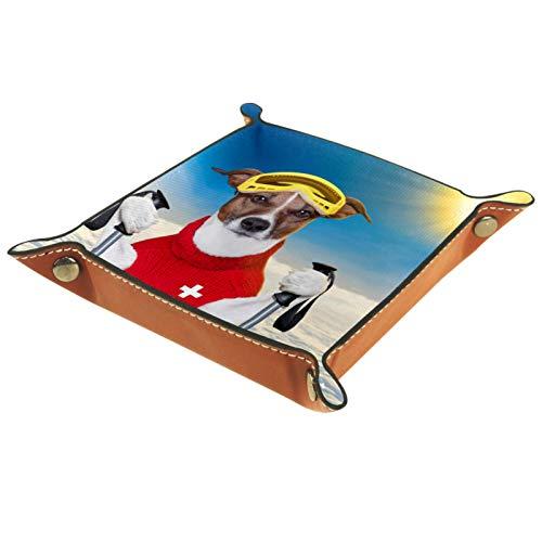 Petite boîte de rangement, plateau de valet pour homme,Pull en laine rouge pour chien de ski de neige ,Organisateur de fourre-tout en cuir pour bijoux à clés