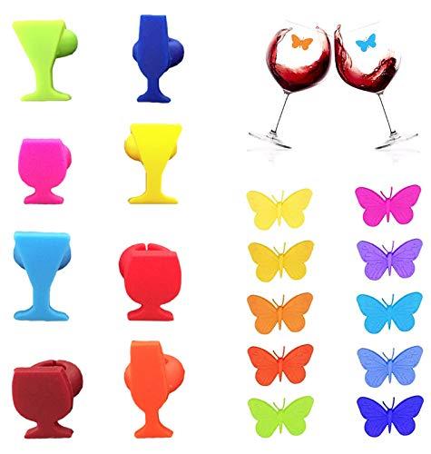 N\A EACHPT 18pcsi segnabicchieri Silicone marcatori per Bicchieri di Vino per Feste ciondoli per distinguere i Bicchieri da Vino identificativi per vetri riutilizzabili marcatori per Vino Tazza