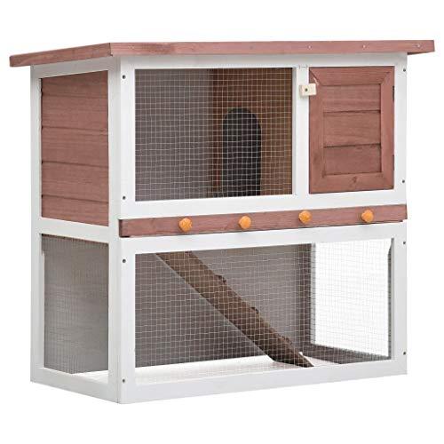 Goliraya Jaula Conejera con 1 Puerta Madera Conejera de Exterior Madera Jaula para Conejo Animales Pequeños Casa para Conejos Marrón y Blanco