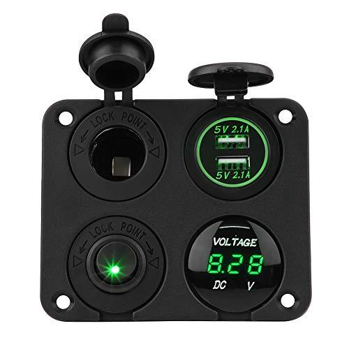 Panel de interruptor de palanca, ANGGREK On/Off Panel de interruptor de palanca de 4 bandas Voltímetro USB doble Cargador Voltímetro de enchufe de encendedor(verde)