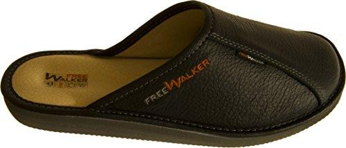 FreeWalker ® | Herren Hausschuhe Leder (44, Schwarz, Leder)