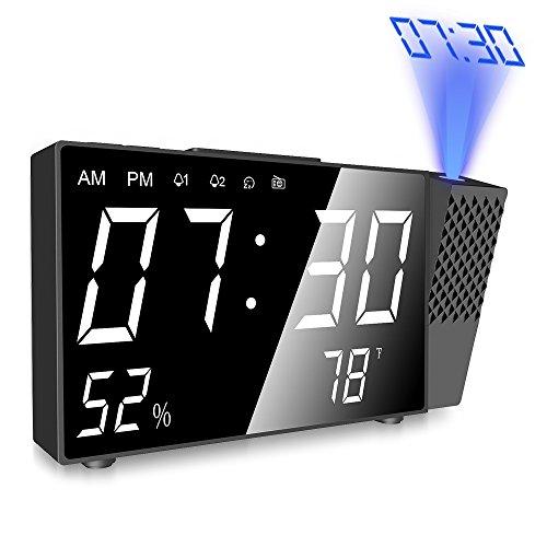 Despertador Proyector, Digital Proyección Relojes de Alarma, Radio Despertador Digital con Alarmas...