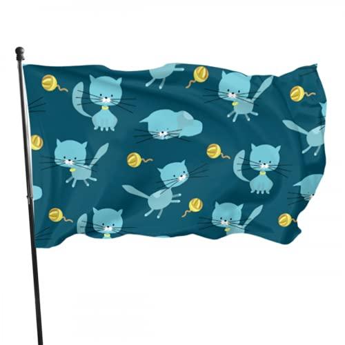 JOCHUAN Salto Inteligente Bandera de Gato Lindo Decoración de la casa Banderas Decoradas 3x5 pies Colores Vibrantes Calidad Poliéster y Ojales de latón
