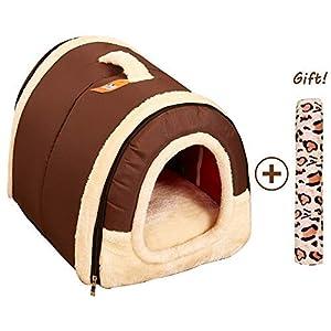 Cama/Caseta Perro Gato Interior 2 en 1, Casa Mascota Grande o Pequeño, Lavable Plegable Portátil, Cueva de Viaje para Perros Medianos Pequeños y Gatos (M:45cmx35cmx35cm, Marron) 10
