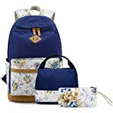 FLYMEI 15 Inch Laptop Backpack for Women, Blue Bookbags for Women, Cute Canvas Backpack for School, Floral Bookbag for Teens, Girl Travel Back Pack
