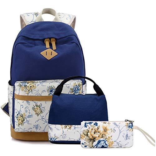 FLYMEI 15 Inch Laptop Backpack for Women, Blue Bookbags for Women, Cute Canvas Backpack for School, Floral Bookbag for Teens, Girl Travel Back Pack