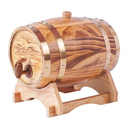 Barril de Roble Toneles de Vino Barril de Madera Barriles de roble de 5L, barriles de roble de vino tinto for su propio whisky, cerveza, brandy (con grifo) (Color : Light color)