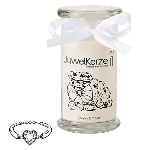JuwelKerze Cookies & Cream - Kerze im Glas mit Schmuck - Große beige Duftkerze mit Überraschung als Geschenk für Sie (Silber Armband, Brenndauer: 90-120 Stunden)