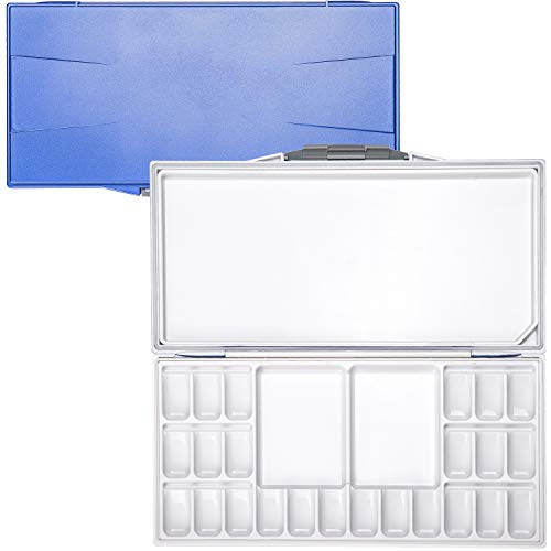 MEEDEN Airtight Leak-proof Watercolor Palette - Peel-Off Palette Foldable Travel Paint Palette Box with 24-Well & 3 Mixing Areas for Watercolor, Gouache & Acrylic Paint, Blue Case