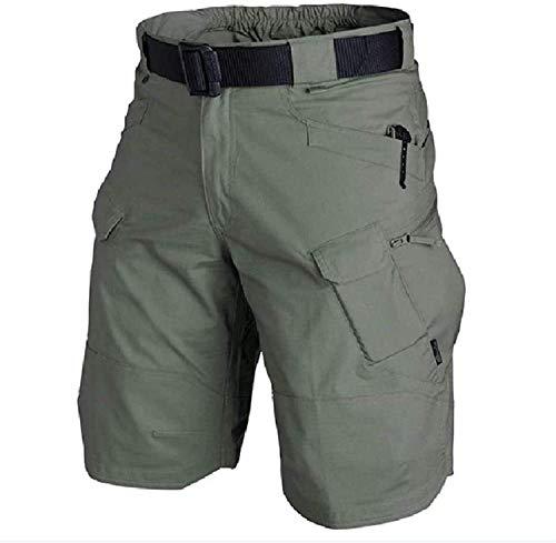 ASDSA Pantalones Cortos tácticos Impermeables mejorados 2021, Pantalones Cortos tácticos de Senderismo, Pantalones Cortos Tipo Cargo de Ajuste Relajado para Hombres (Dark Green,XL)