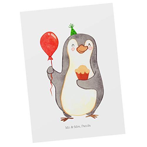 Mr. & Mrs. Panda Ansichtskarte, Geschenkkarte, Postkarte Pinguin Geburtstag - Farbe Weiß