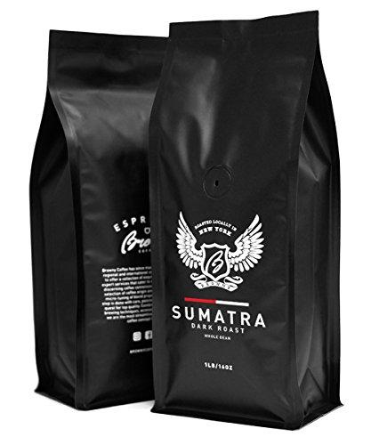 Browny Indonesian Sumatra Organic Roasted Coffee Whole Beans - Premium Artisan Dark Roast in 16oz (1 Pound)