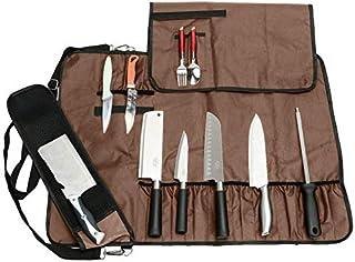 JURONG - Bolsa de almacenamiento para cuchillos de chefs con 17 compartimentos, cuchillos, cucharas y tenedores, resistente al agua, bolsa de almacenamiento para herramientas de cocina