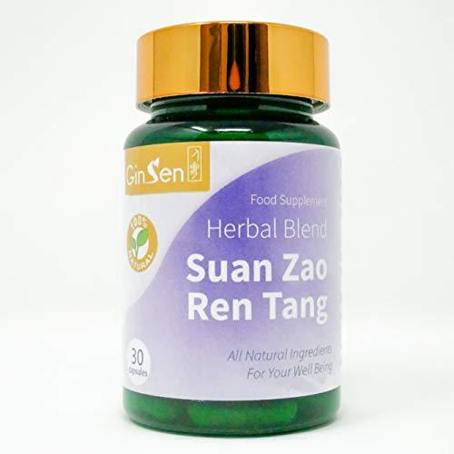 GinSen Adult Sleeping Pills (30 Caps) Suan Zao Ren Tang Helps Nervousness, Stress, Anxiety, Sleeplessness, Natural Sleep, Vegan, Vegetarian, Food Supplement, Natural Chinese Remedy, Made in UK