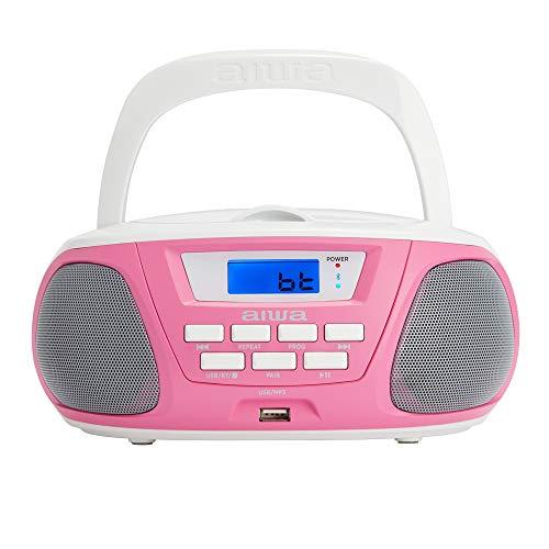 Aiwa BBTU-300PK: Radio CD Portátil con Bluetooth, USB, Aux In, Sintonizador de Radio, Edición Especial Infantil para niños y niñas