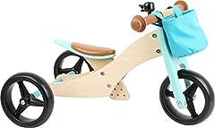 Small foot 11610 Roue Trike 2 en 1 turquoise en bois, trois roues et roues, avec siège réglable et pneus caoutchoutrés