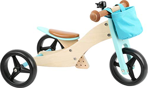 small foot 11610 Triciclo - Bicicleta 2 en 1, Color Turquesa, de Madera, con Asiento Ajustable y neumáticos de Goma