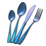 MEJAJU Blaues Besteck-Set aus Edelstahl, wiederverwendbar, 16-teilig, hochglanzpoliert, Besteck-Set für 4 Personen, Geschirr-Set für Zuhause, Küche, Hotel, Restaurant, spülmaschinenfest