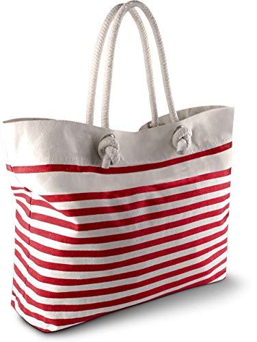 Strandtasche - Farbe: Natural/Red - Größe: One Size