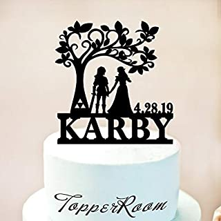 Link And Zelda Wedding Cake Topper, Custom Cake Topper, Link And Zelda, Personalized Cake Topper,Funny Cake Topper, Fairytale Wedding 131