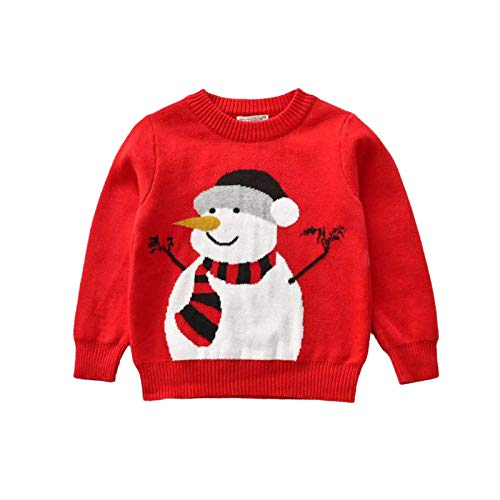 Kids Toddler Baby Girl Boy Christmas Sweater Cotton Knit Crewneck Pullover Sweatshirt Tops Warm Fall Winter Clothes (A-Red Christmas Sweater Snowman,3-4T)