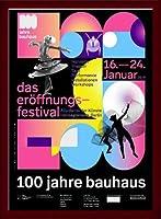 ポスター バウハウス 100 Jahre Bauhaus Festival 2019 Black 額装品 ウッドベーシックフレーム(ブラウン)