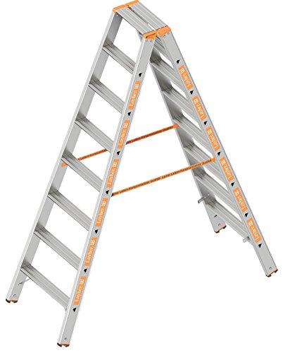 Layher 1043008 Stufenstehleiter Topic 8 Aluminiumleiter 2x8 Stufen 80 mm breit, beidseitig begehbar, klappbar, Länge 2.00 m