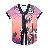Raylans Camisa de béisbol casual para hombre con estampado floral 3D, de manga corta, con botones, Hombre, BRT-MC011-Color2-XL, Color2, UK L(Tag XL)