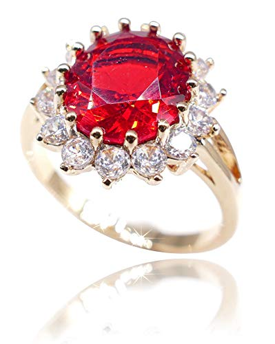 Ah! Jewellery Women's Eye Catching 18kt Genuine Gold Filled Ring With A Ruby Red Diamond Centre. UK Guarantee: 3 µ (P)