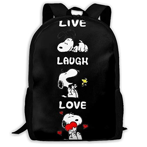Casual Backpack- Stylish Live Laugh Love Snoopy Print Zipper School Bag Travel Daypack Backpack