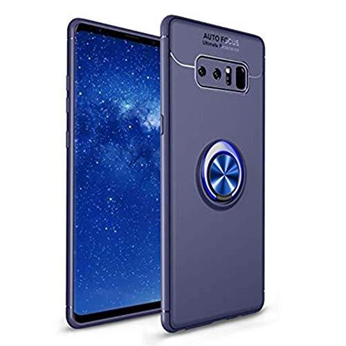 Compatible con Samsung Galaxy Note 8, carcasa de anillo de silicona TPU, soporte de anillo con soporte magnético para coche, funda original para Galaxy Note 8 azul Talla única