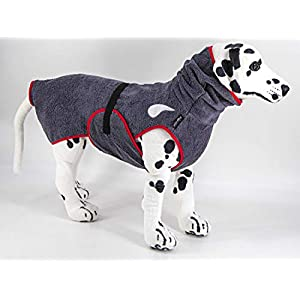 """drop-tex Hundebademantel""""Schiefer"""" – Rückenlänge 25cm – 90cm auswählbar – ohne Kordel – 100% Handmade – 100% Baumwolle (Walkfrottier)"""