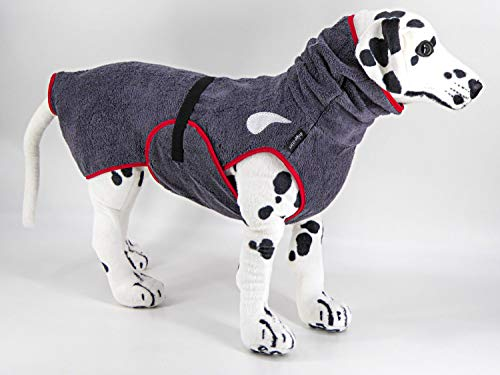drop-tex Hundebademantel'Schiefer' - Rückenlänge 25cm - 90cm auswählbar - ohne Kordel - 100% Handmade - 100% Baumwolle (Walkfrottier)