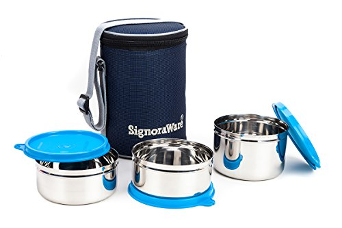 Signoraware Executive Stainless Steel Lunch Box Set, Set of 3, Blue