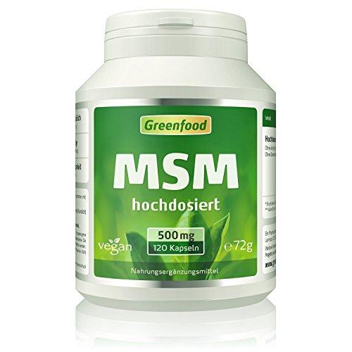 MSM, 500 mg, hochdosiert, 120 Kapseln, vegan – organischer gebundenes Mineral. Hohe Verfügbarkeit. OHNE künstliche Zusätze. Vegei-Kapseln.