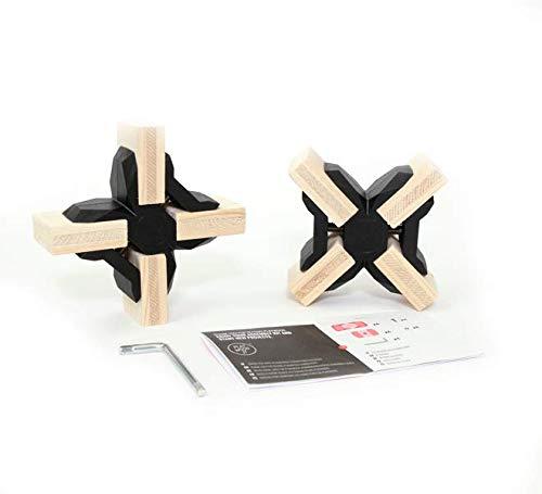 PlayWood Kit de Construcción de Cruz Conectores, Pinzas de Plástico con Tornillo de Acero Inoxidable, Grosor Entre 16-19 mm, Ideal para Bricolaje, Estantes Modulares de Madera (Kit 8 Piezas, Negro)