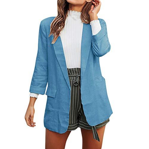 Sumeiwilly Damen Karierter Anzug Blazer Mantel Jacke Einfarbig Strickjacke Mode Cardigan Kurzmantel Geschäft Kleidung Weich Bequem Outwear mit Tasche
