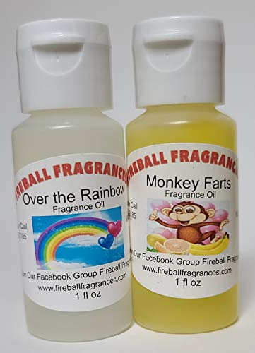 2 Pack of Over The Rainbow (Skittles Candy) & Monkey Farts (Banana Citrus) Scented Oils by Fireball Fragrances - 1 Oz Bottles