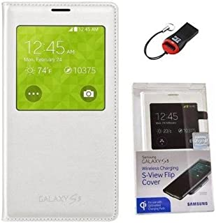 Samsung Galaxy S5 Wireless Charging Case S View Flip Cover Folio with Sd Card Reader (Retail Packing)