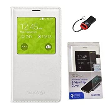 Samsung Galaxy S5 Wireless Charging Case S View Flip Cover Folio with Sd Card Reader  Retail Packing
