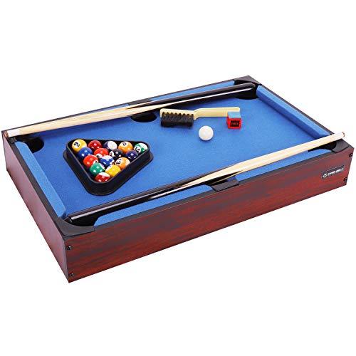 WIN.MAX Mini Pool Billardtisch Nano inkl. Zubehör (2 Queues, Kugeln, Dreieck, Kreide), Maße: 51x31x10cm