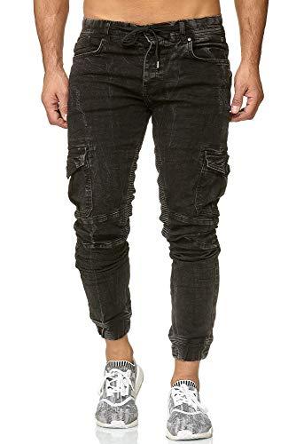 Redbridge Jeans da Uomo Denim Casual Elasticizzati in Cotone con Tasche Laterali Nero W34L32