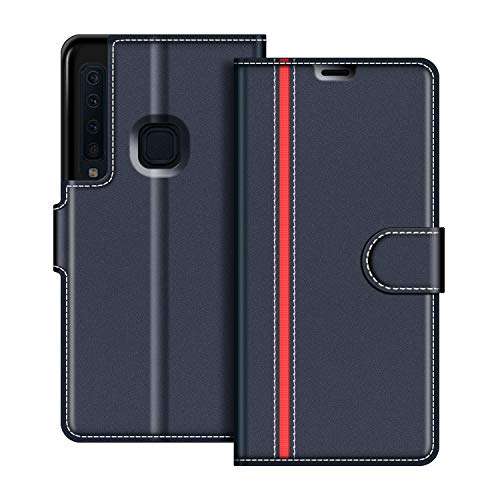 COODIO Handyhülle für Samsung Galaxy A9 2018 Handy Hülle, Samsung Galaxy A9 2018 Hülle Leder Handytasche für Samsung Galaxy A9 2018 Klapphülle Tasche, Dunkel Blau/Rot