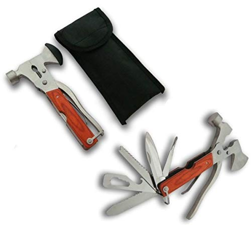 KOSxBO® SET 10 in 1 Survival Multi-zakgereedschap inclusief nylon tas - zaag - hamer - bijl - schroevendraaier - flesopener - schroefsleutel