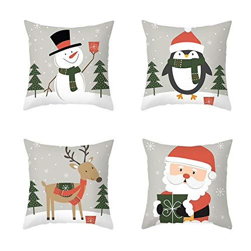 2020 New 4 Piece Set Cartoon Printed Cotton Linen Christmas Pillowcase Office Sofa Cushion Cover 18 X 18 Inches Cushion Cover-Style:6