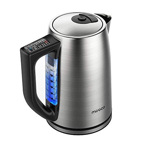 Wasserkocher, Miroco 1,7L Elektrischer Wasserkessel Edelstahl Teekessel mit 6 Temperatureinstellung und Trockengehschutz, 2000W Elektrische Kanne mit LCD Anzeige, BPA-Frei, Silber
